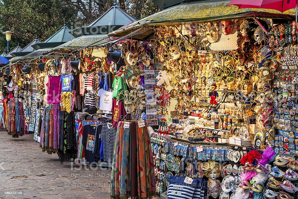 Outdoor stands selling souvenirs in Venice. stock photo