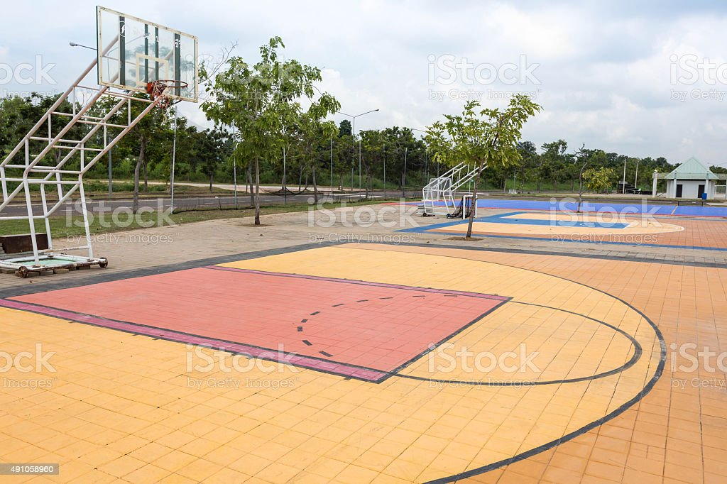 Outdoor street basketball court. stock photo