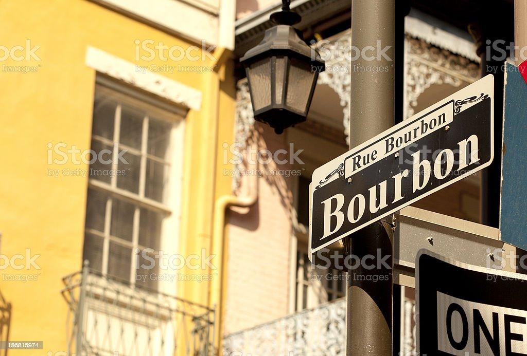 Outdoor street sign on Bourbon Street stock photo