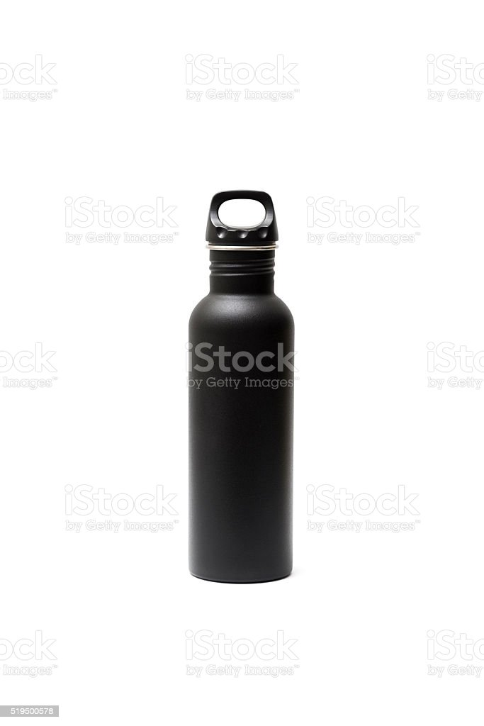 Outdoor Style Water Drinking Bottle Isolated on White Background stock photo