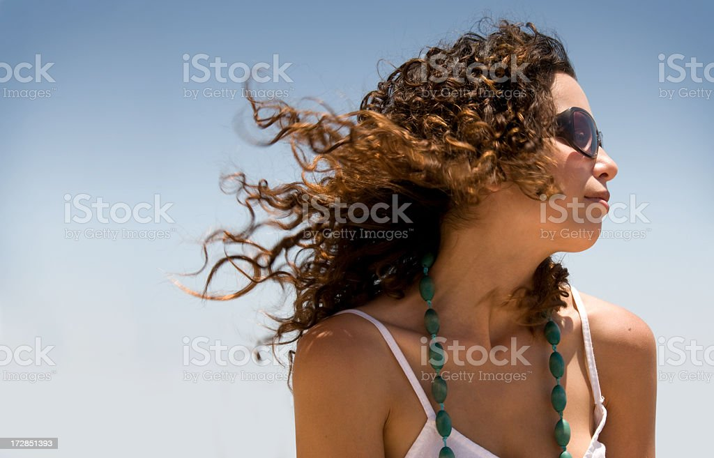 Outdoor Summer Portrait: Breeze in Young Girl's Hair royalty-free stock photo