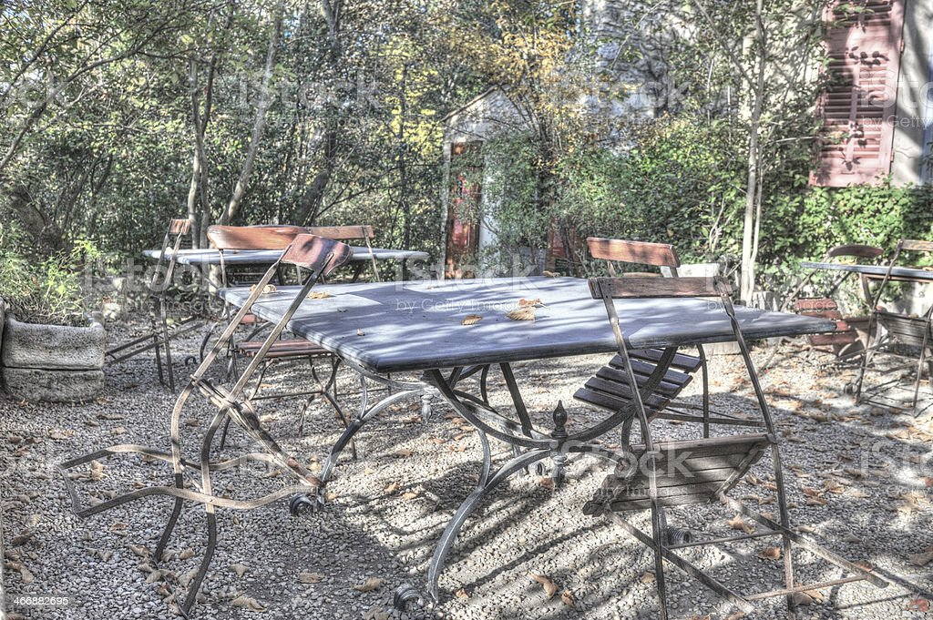 Outdoor table and chairs, Provence royalty-free stock photo