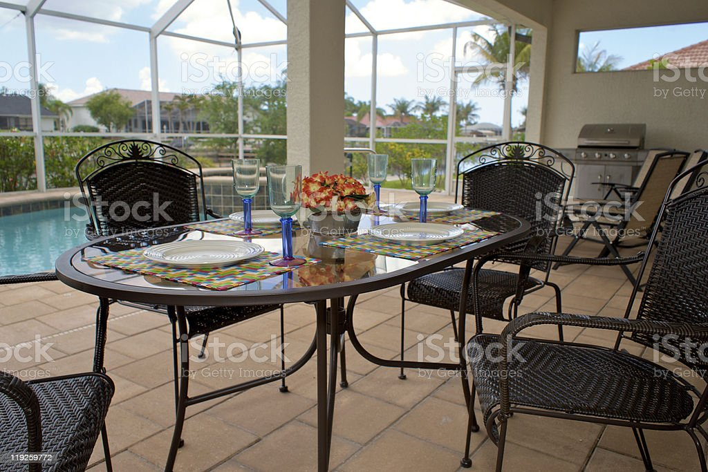 outdoor table setting for dinner royalty-free stock photo