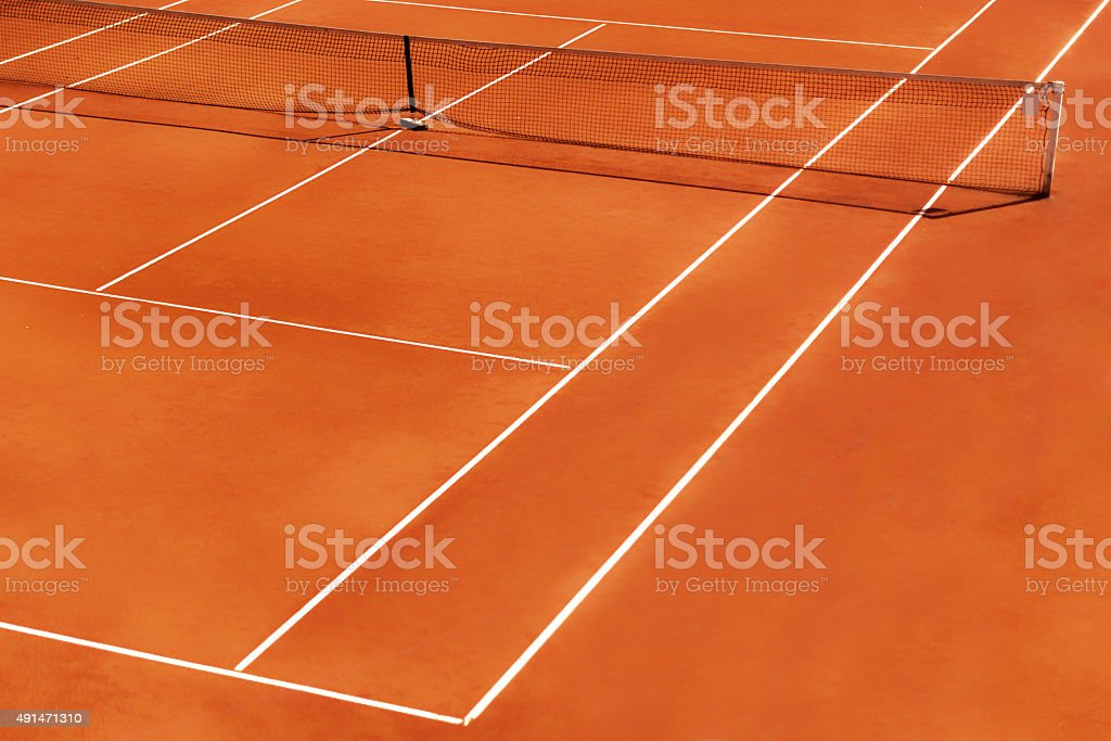 outdoor tennis clay court detail with net stock photo