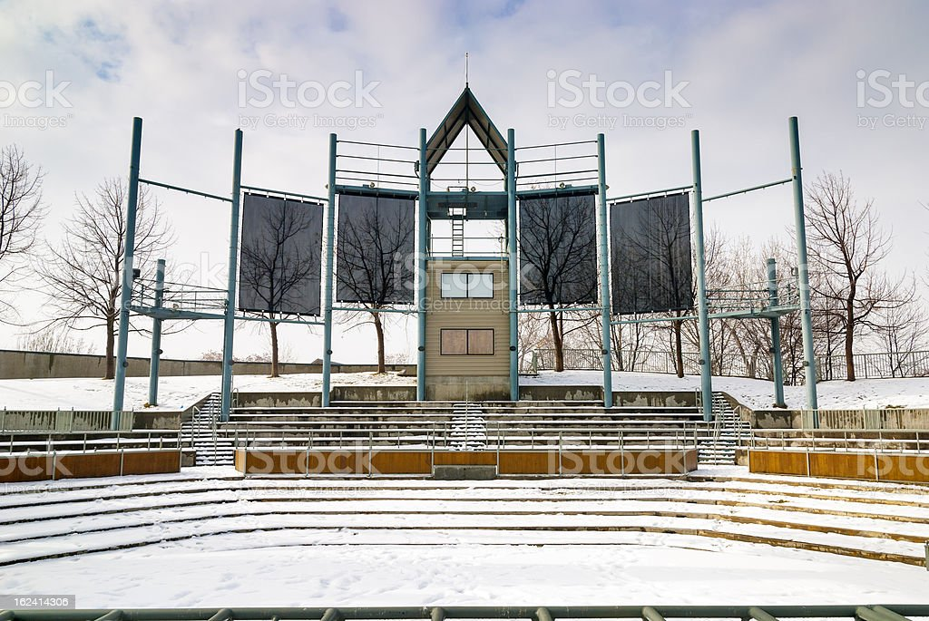 Outdoor Theater closed for the season winter royalty-free stock photo