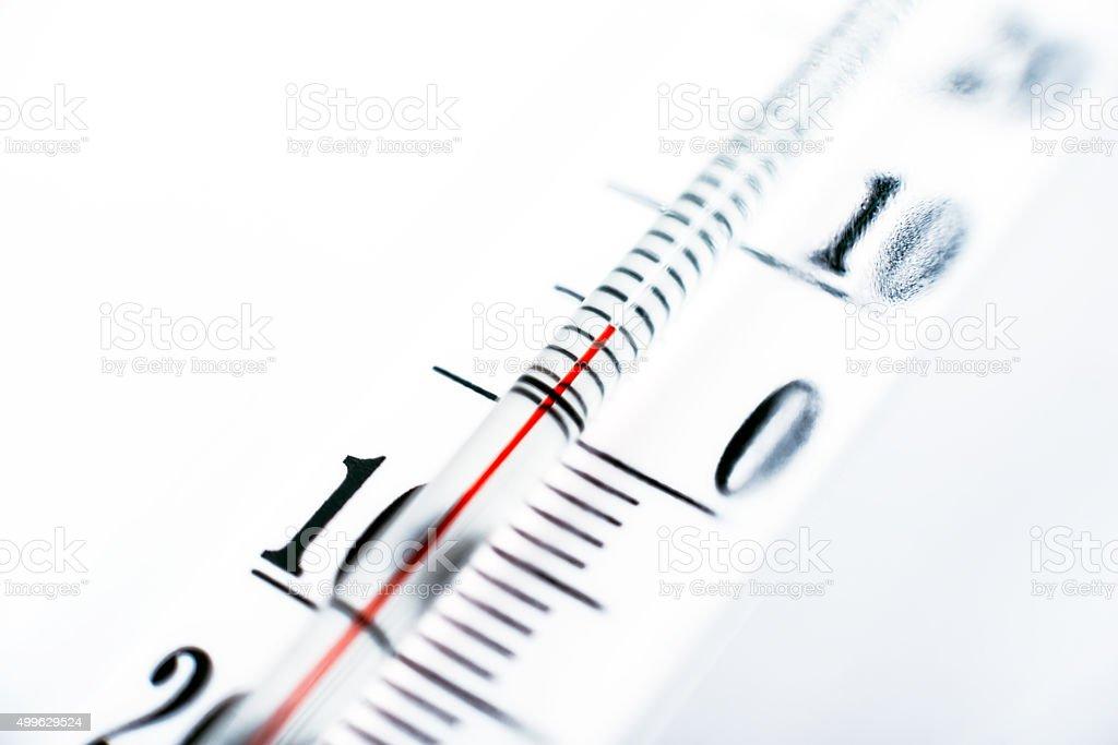 outdoor thermometer Celsius temperature near zero stock photo