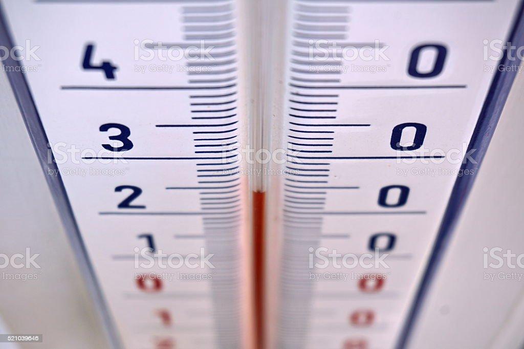 Outdoor thermometer in the retro design measuring mild temperature stock photo