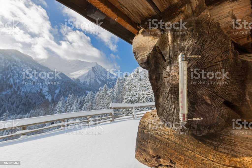 Outdoor Thermometer showing minus degrees celsius during cold winter in Austria, Europe stock photo