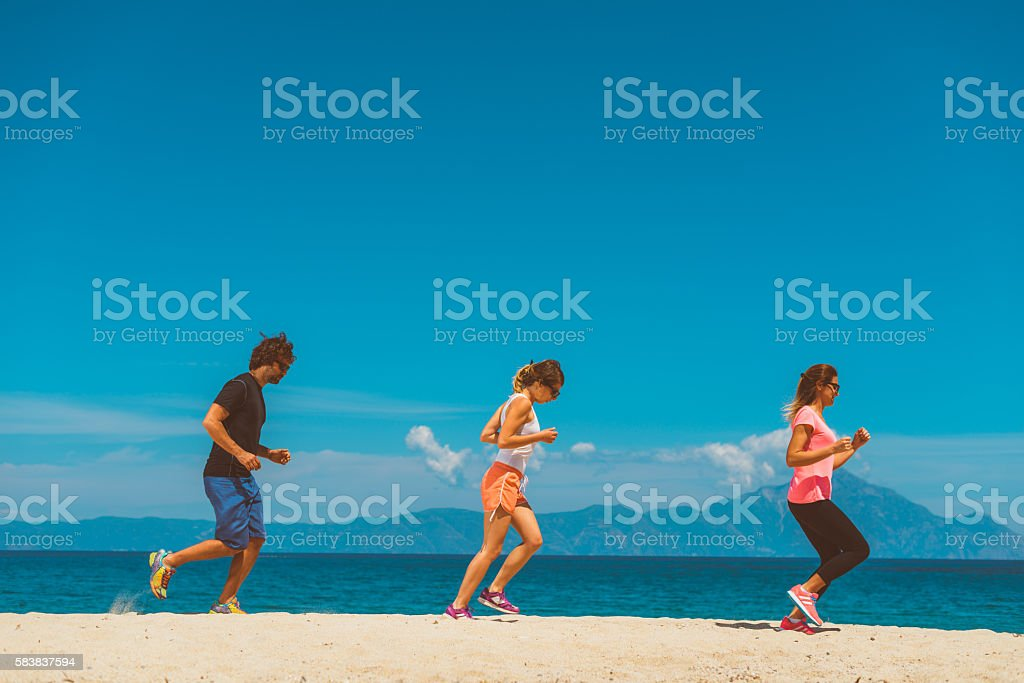 Outdoor training at seaside stock photo
