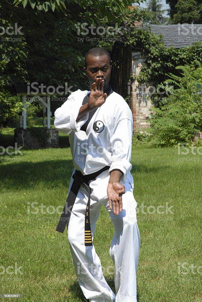 Outdoor training (blocking) stock photo