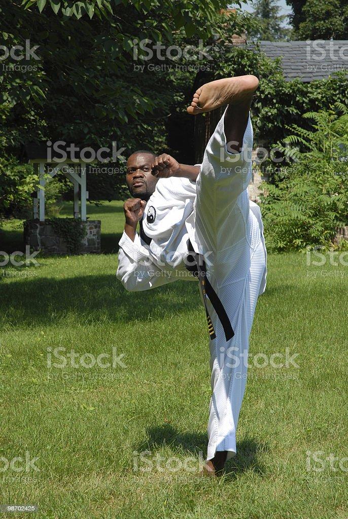 Outdoor training (side kick) stock photo