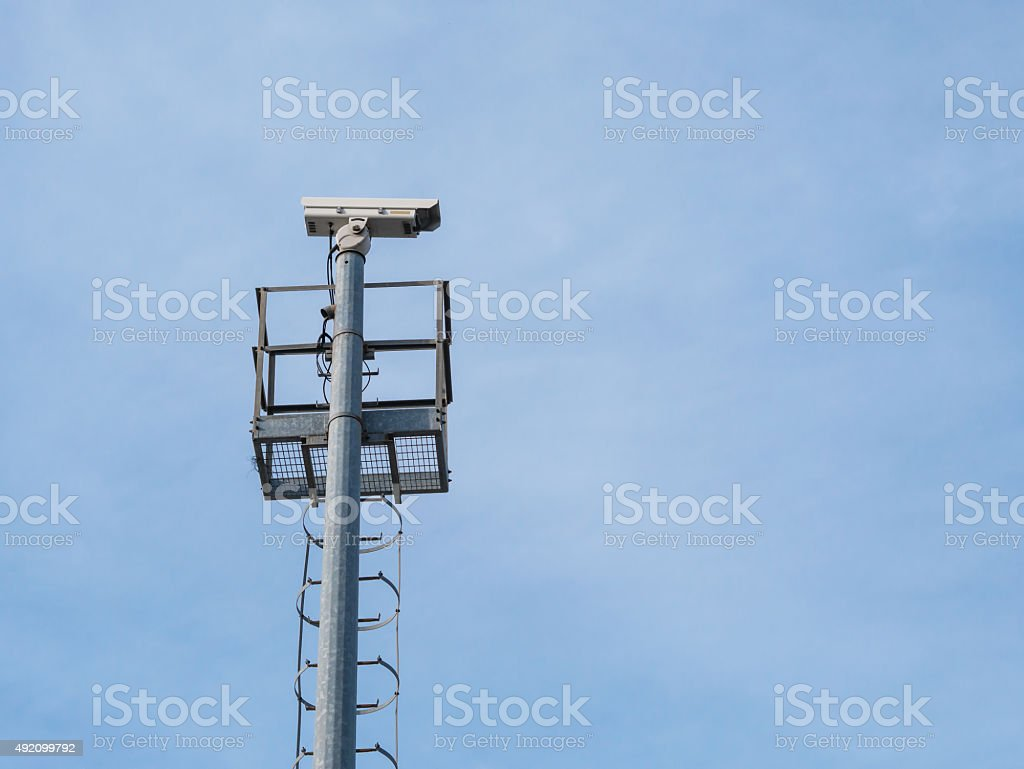 CCTV outdoor type install on pole. royalty-free stock photo