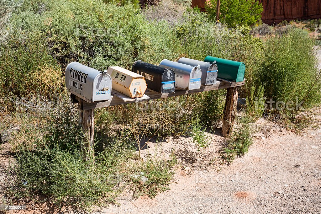 Outdoor views of mail boxes on a wooden socket stock photo