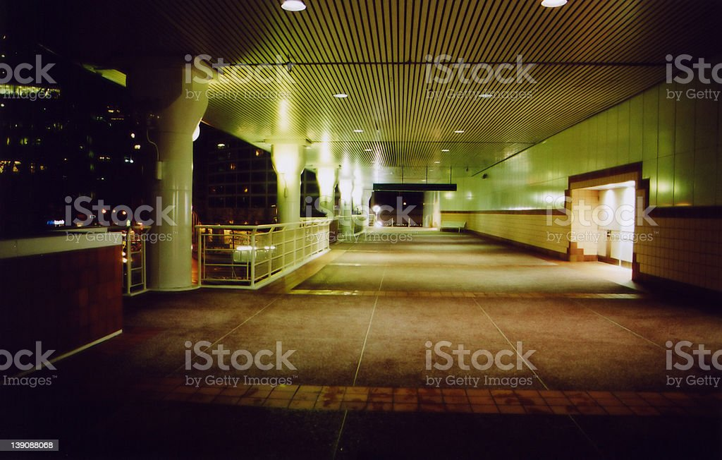 Outdoor walkway at night royalty-free stock photo