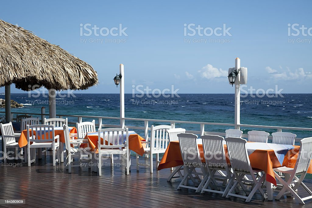 Outdoor waterfront dining royalty-free stock photo