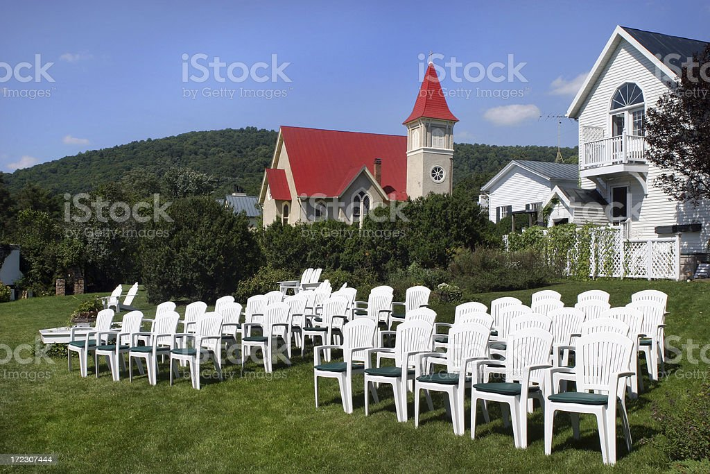Outdoor Wedding Garden Church and Country Inn royalty-free stock photo