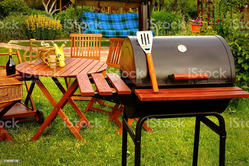 Outdoor Weekend BBQ Grill Party Or Picnic Concept stock photo