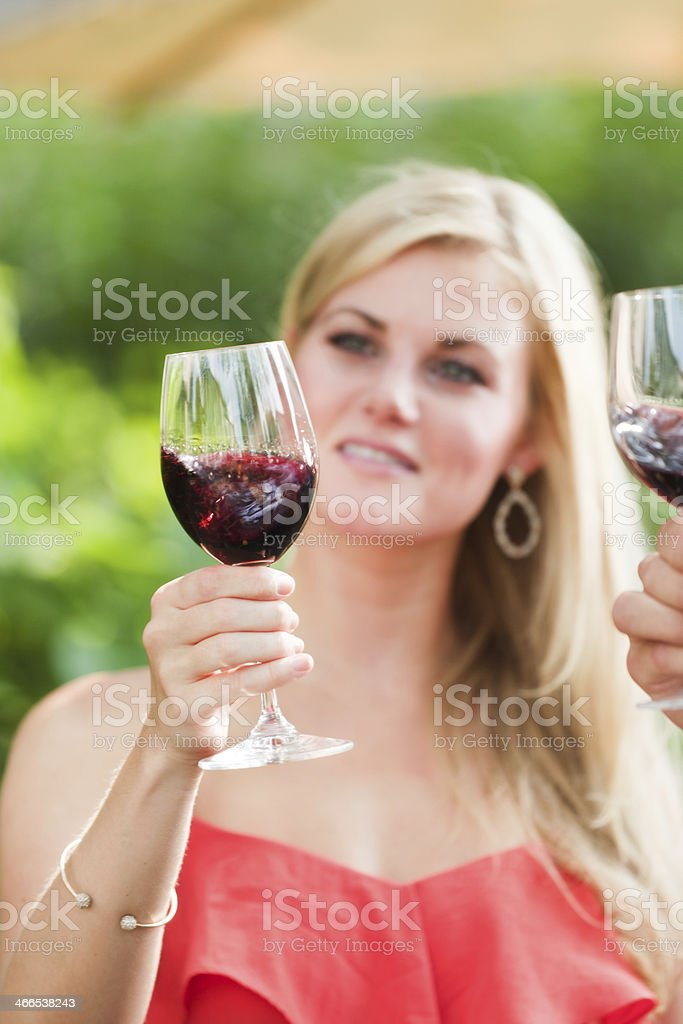 Outdoor Winetasting with Taster Swirling the Red Wine in Glass royalty-free stock photo