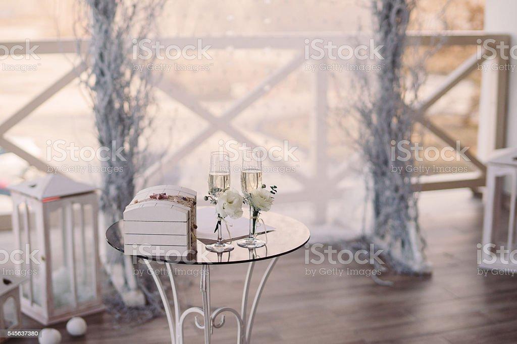 outdoor winter ceremony decoration stock photo