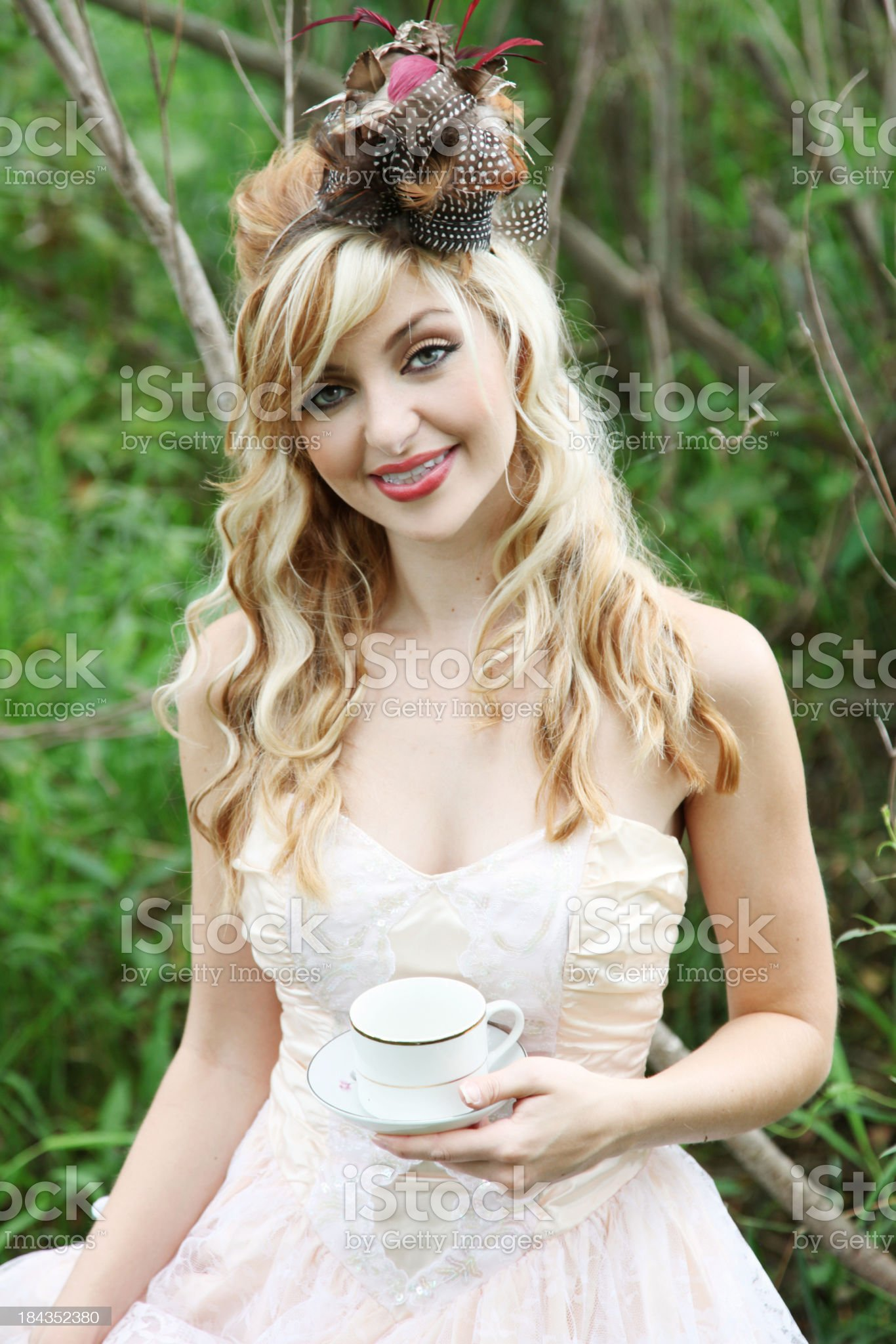 Outdoor woman with teacup royalty-free stock photo