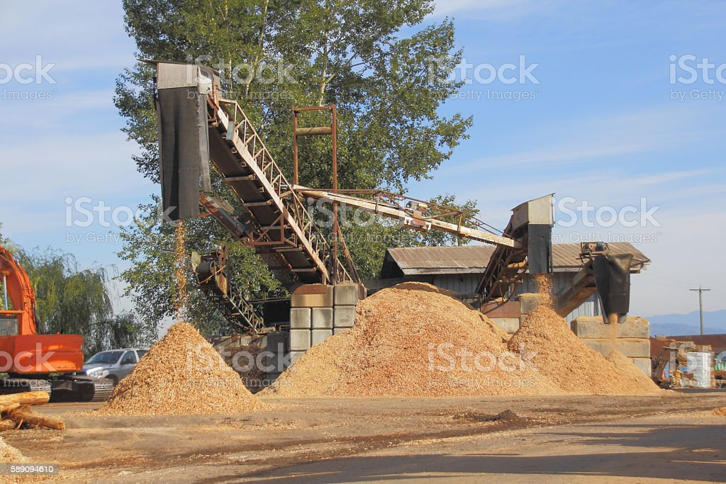 Outdoor Wood Chip Manufacturer stock photo