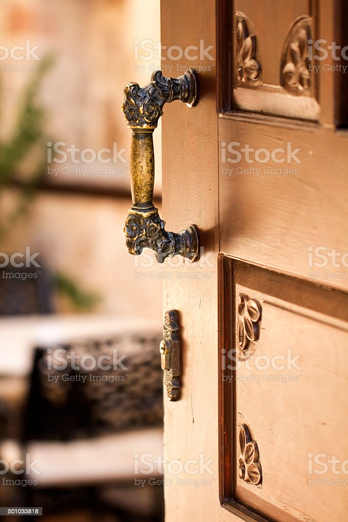 Outdoor wood doors, bronze door . stock photo