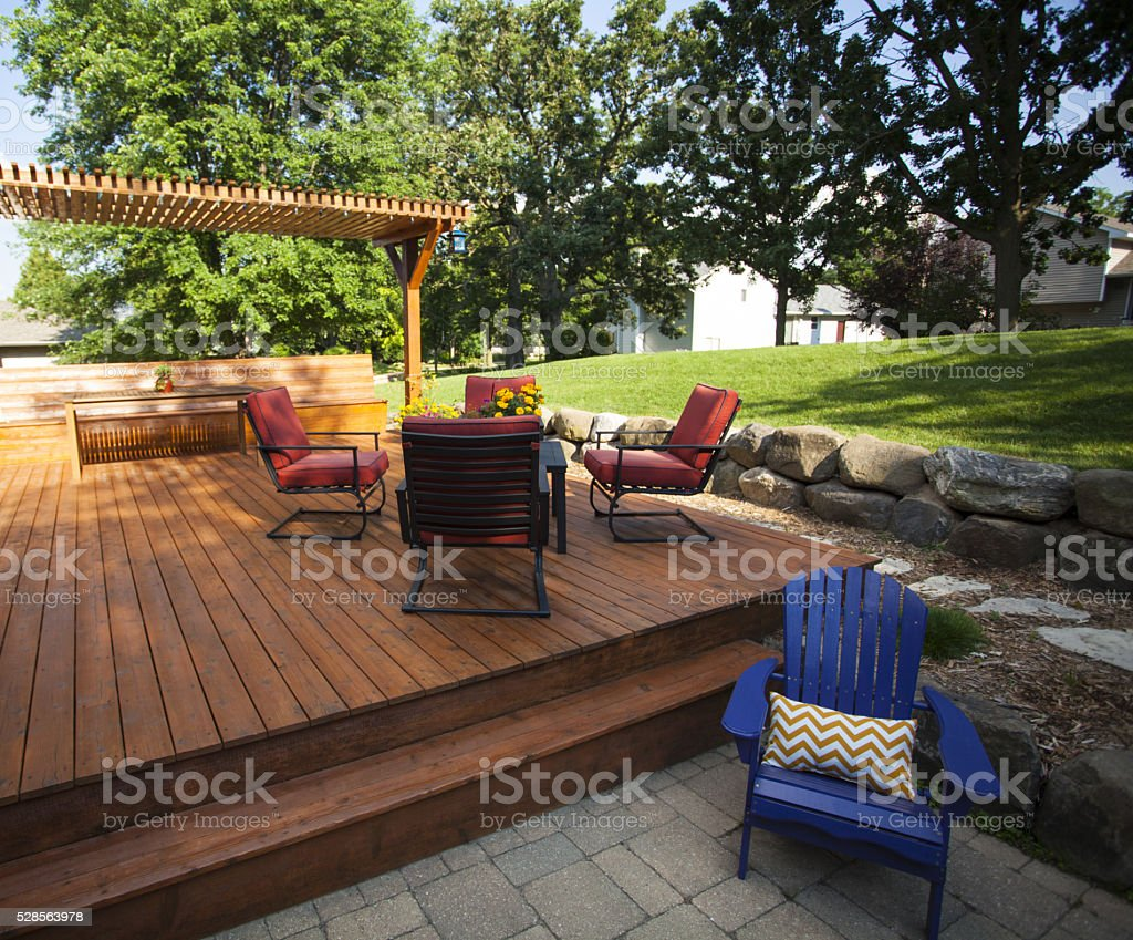 Outdoor Wooden Deck stock photo