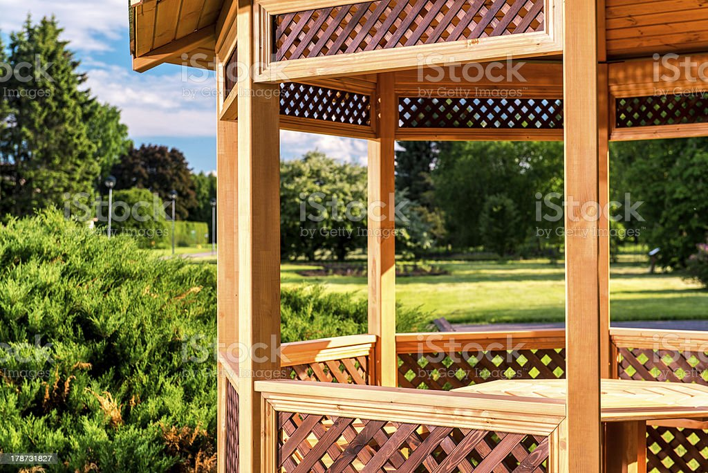 Outdoor wooden gazebo stock photo