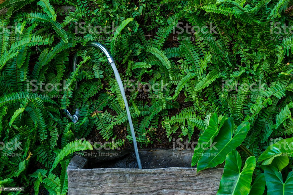 Outdoor wooden sink for washing hand. stock photo