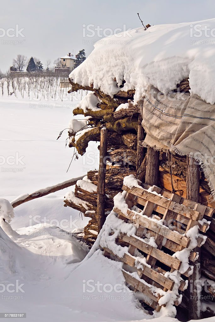outdoor wooden stock with snow stock photo