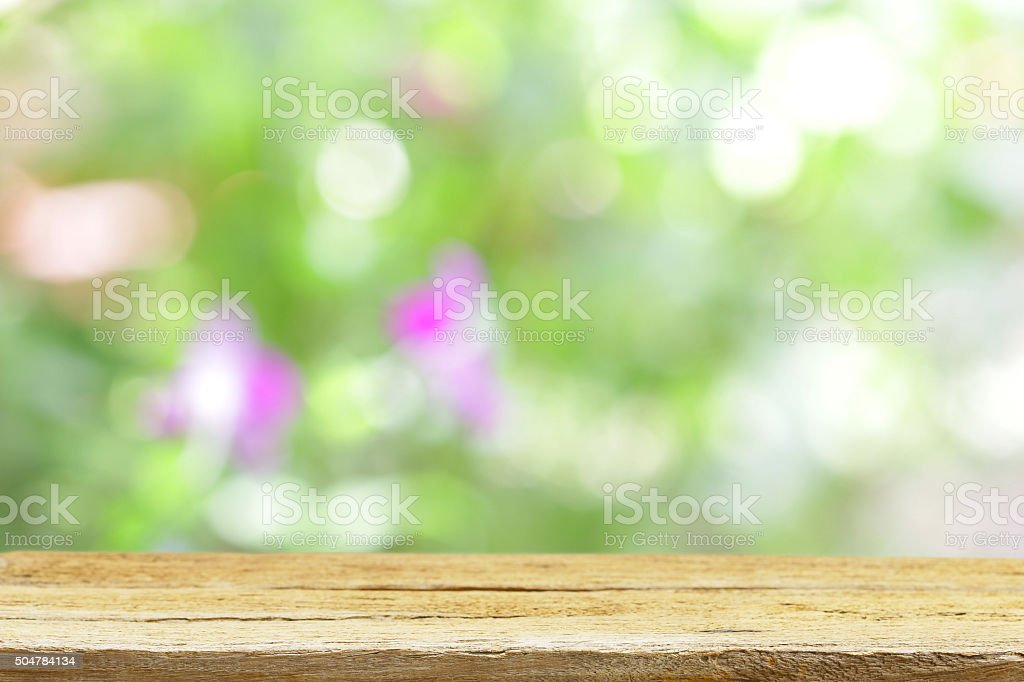 Outdoor Wooden table view stock photo