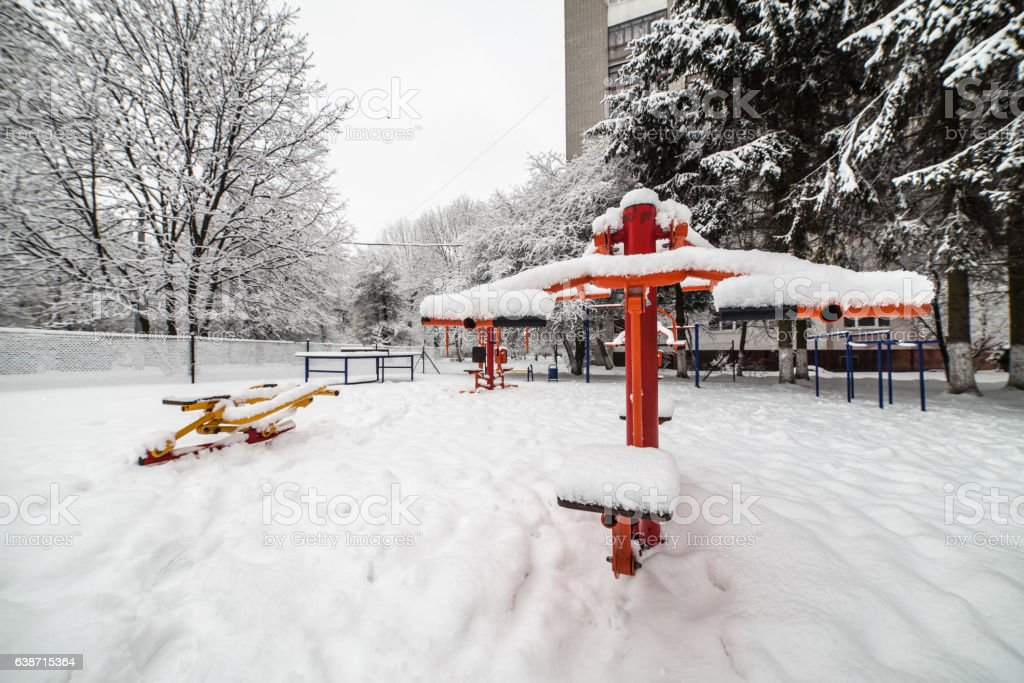 Outdoor workout gym with training gear in winter stock photo