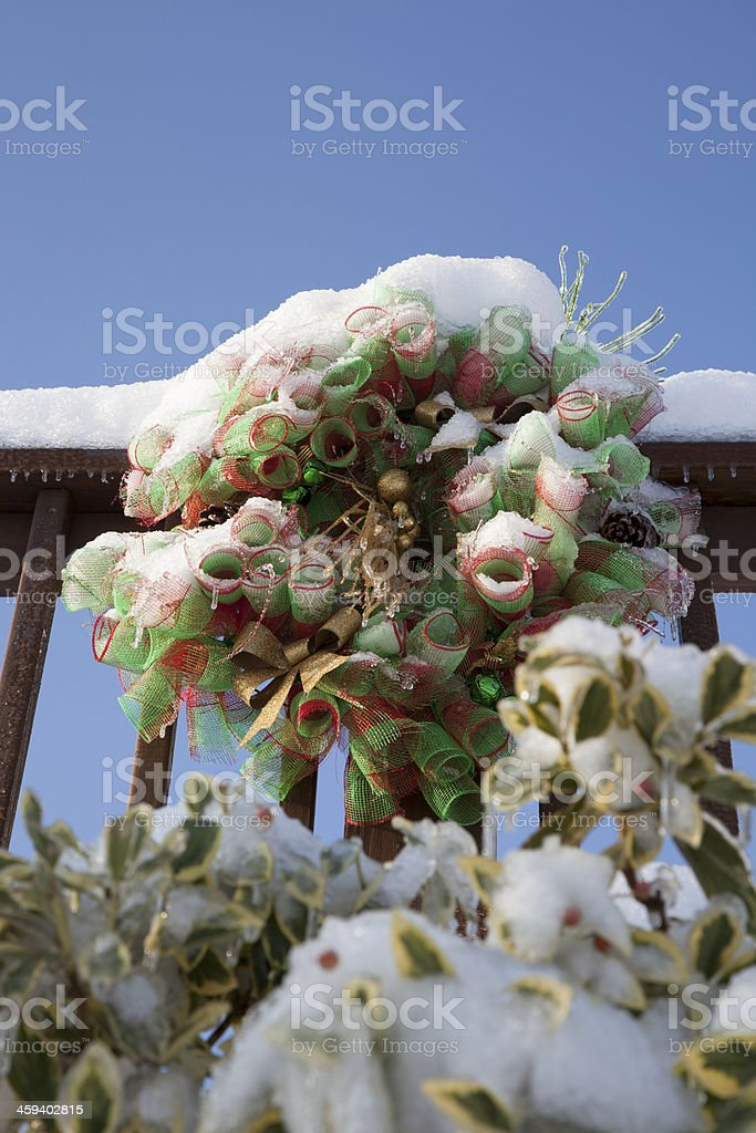 Outdoor Wreath with Snow stock photo