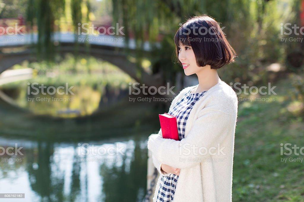 outdoors, beautiful asian girl stock photo