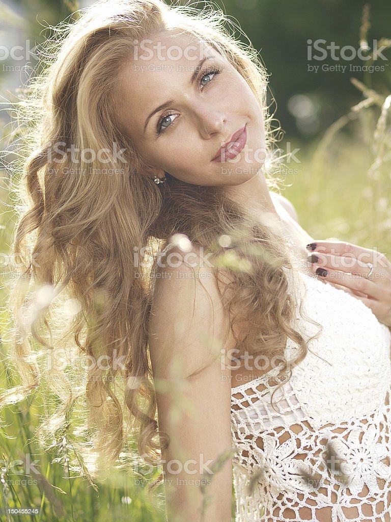 Outdoors blonde portrait royalty-free stock photo