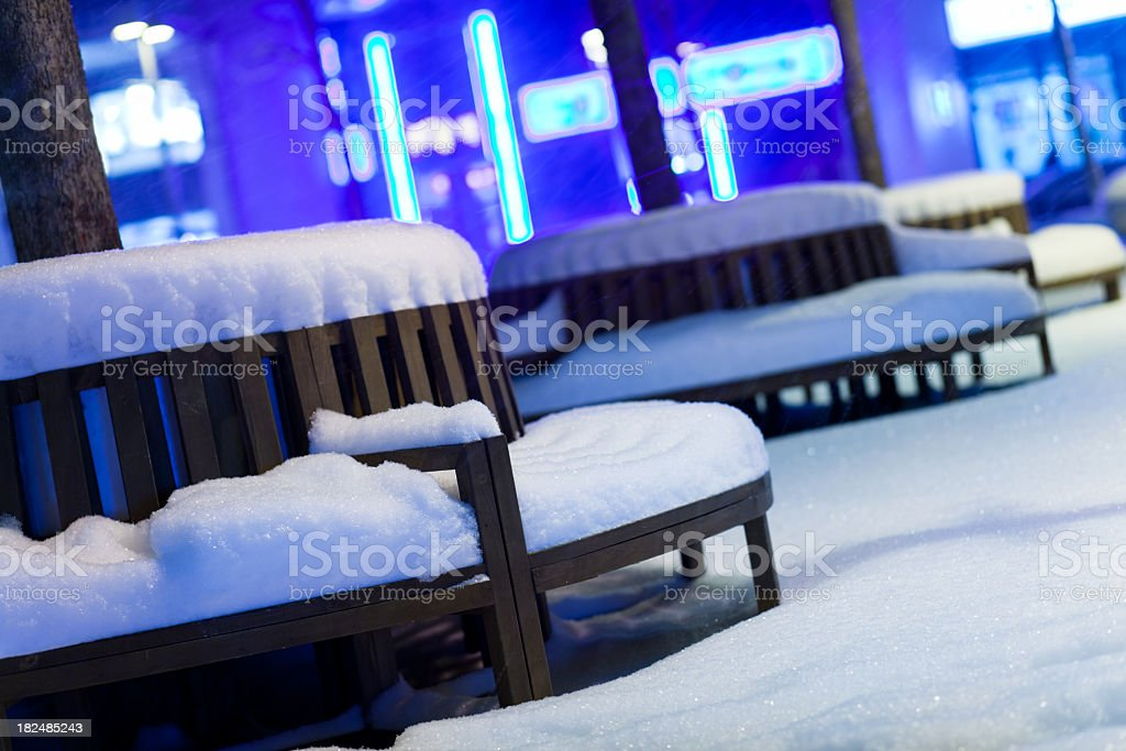 Outdoors café in the Snow royalty-free stock photo