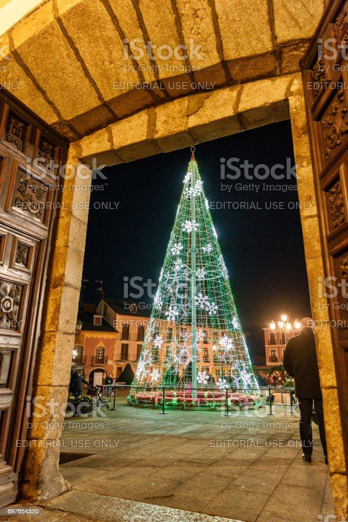Outdoors Christmas tree at Ponferrada, Northern Spain stock photo
