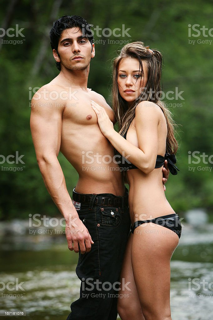 Outdoors Couple Swimsuit Portrait royalty-free stock photo