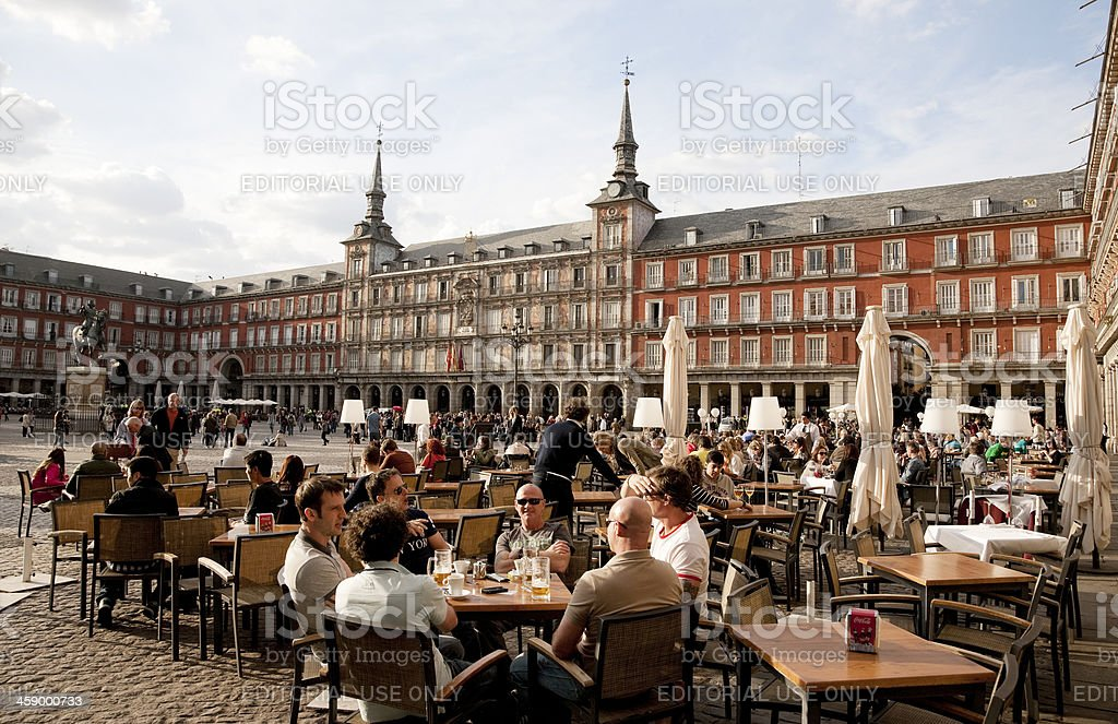 Outdoors dinning at Major Plaza of Madrid, Spain stock photo