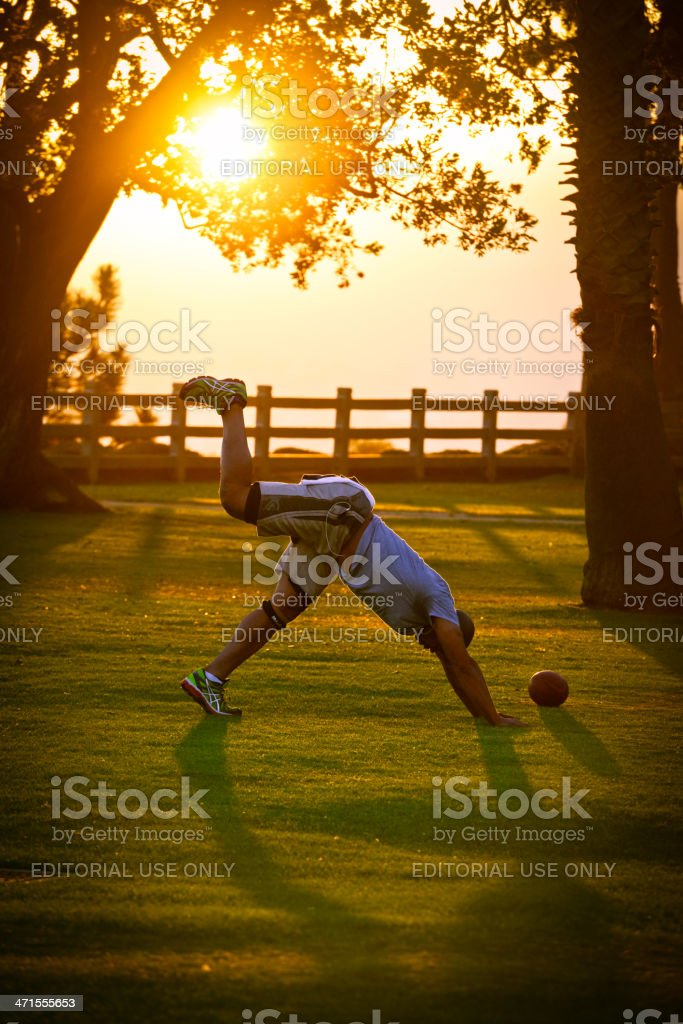 Outdoors Exercising at Sunset royalty-free stock photo