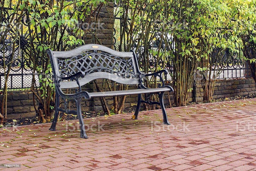 Outdoors Garden Furniture. Wooden bench. stock photo
