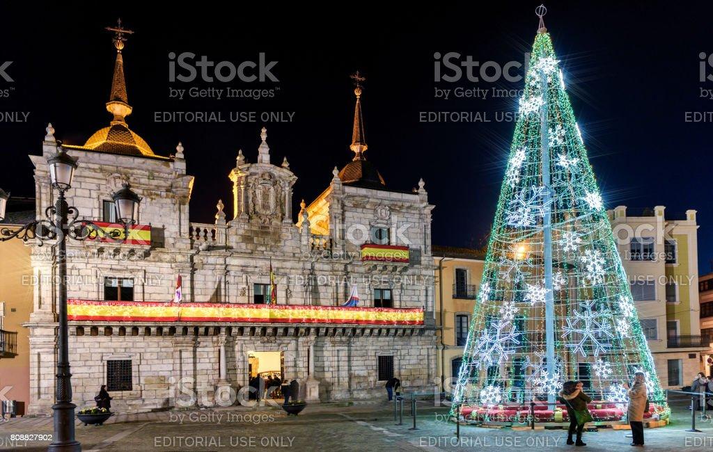 Outdoors lighted Christmas tree in Ponferrada, Spain. stock photo