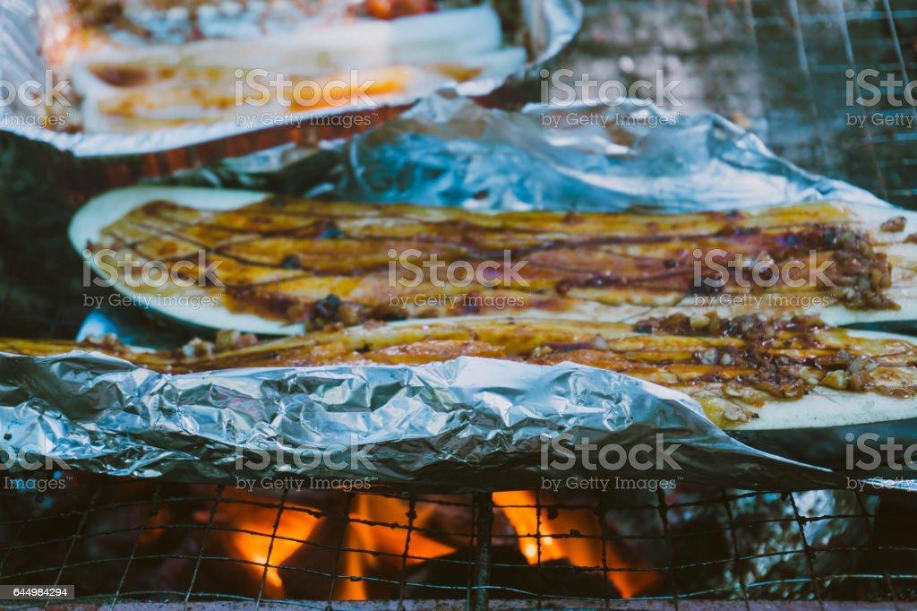 BBQ outdoors stock photo