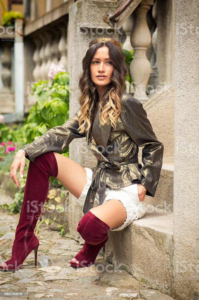 Outdoors portrait of a stylish young woman stock photo