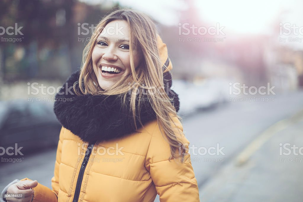 Outdoors portrait of a young woman stock photo