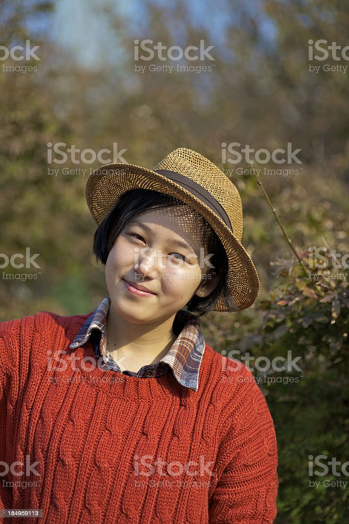 Outdoors portrait of chinese girl royalty-free stock photo