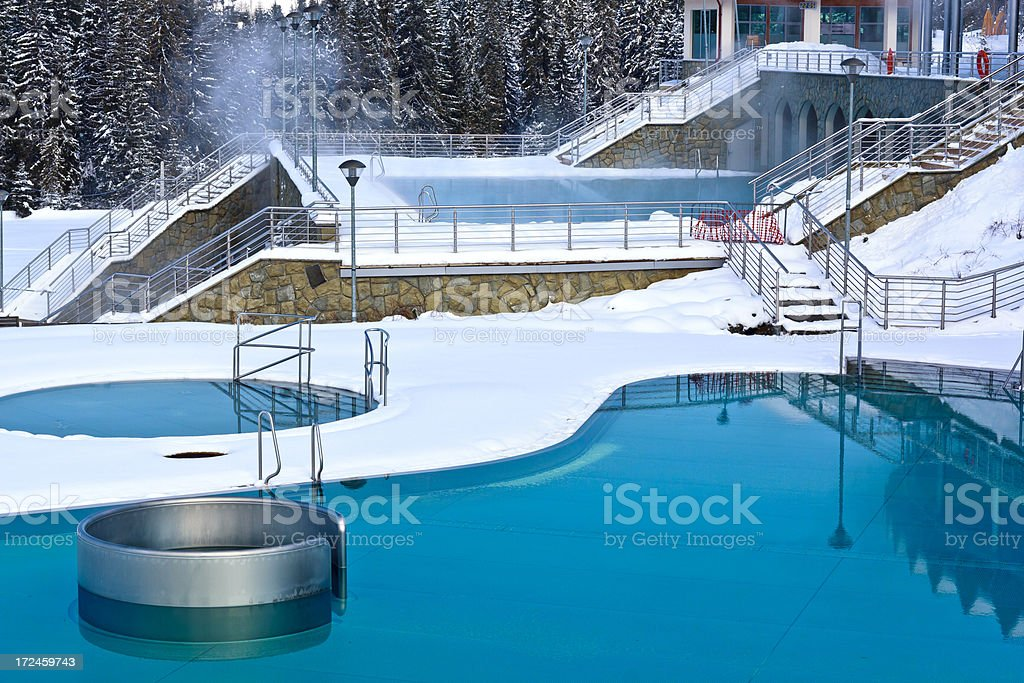 Outdoors swimming pools in winter royalty-free stock photo
