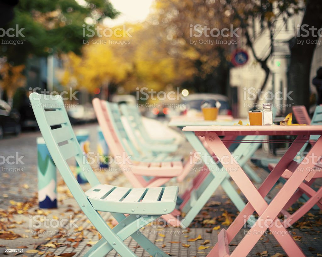 Outdoors tables stock photo