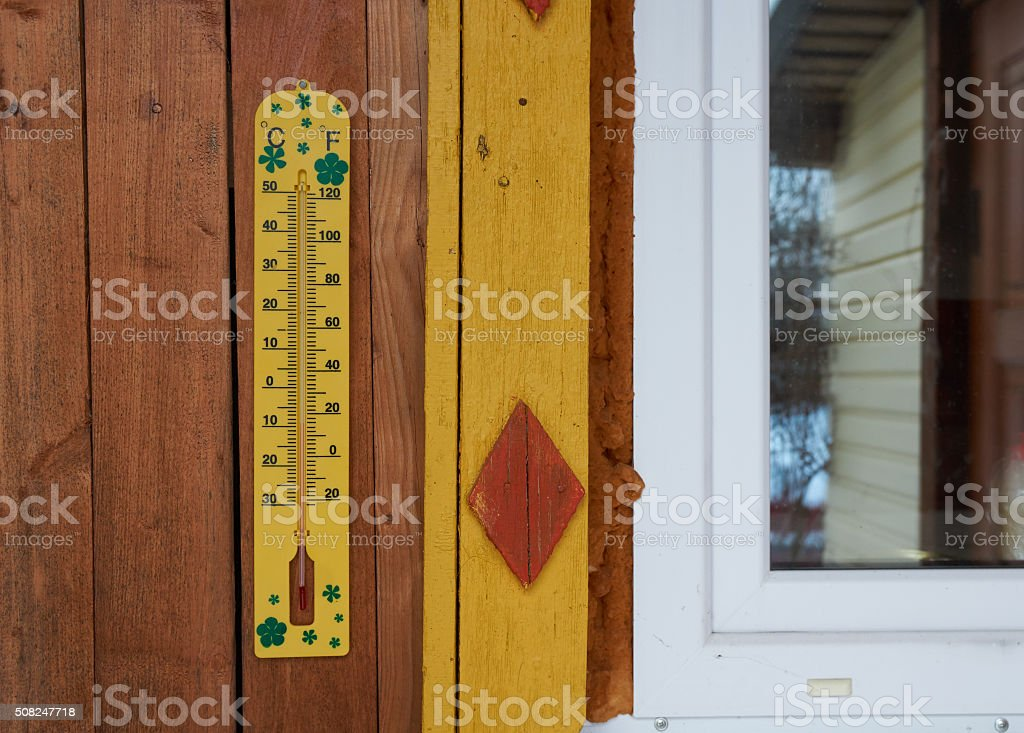 Outdoors thermometer measurement stock photo