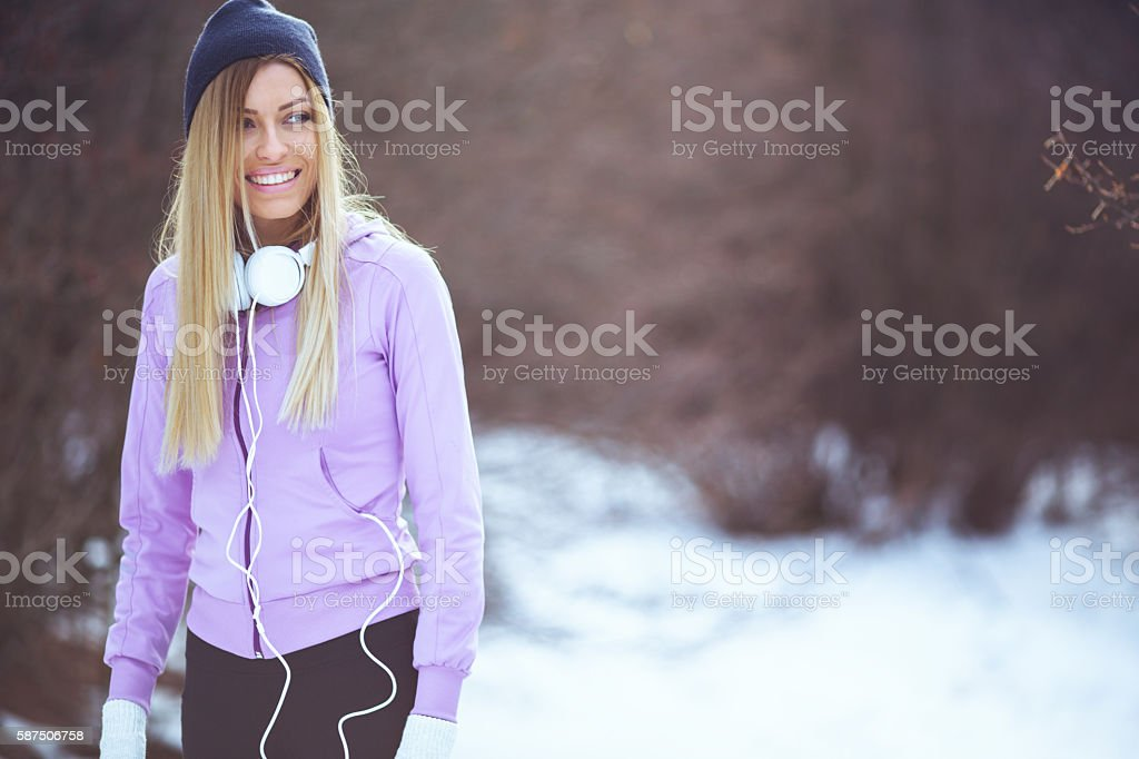 Outdoors workout on the snow stock photo